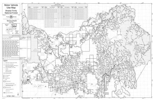 Motor Vehicle Use Map (MVUM) of McCloud Ranger District North in Shasta-Trinity National Forest (NF) in California. Published by the U.S. Forest Service (USFS).