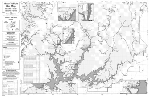 Motor Vehicle Use Map (MVUM) of Shasta Lake Ranger District West in Shasta-Trinity National Forest (NF) in California. Published by the U.S. Forest Service (USFS).
