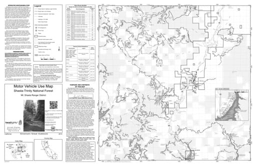 Motor Vehicle Use Map (MVUM) of Mt. Shasta Ranger District South in Shasta-Trinity National Forest (NF). Published by the U.S. Forest Service (USFS).