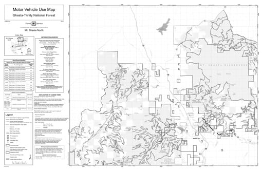 Motor Vehicle Use Map (MVUM) of Mt. Shasta Ranger District North in Shasta-Trinity National Forest (NF) in California. Published by the U.S. Forest Service (USFS).