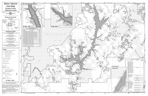Motor Vehicle Use Map (MVUM) of Weaverville Ranger District South in Shasta-Trinity National Forest (NF) in California. Published by the U.S. Forest Service (USFS).
