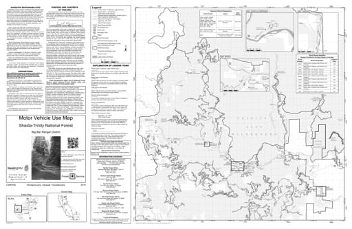 Motor Vehicle Use Map (MVUM) of Big Bar Ranger District South in Shasta-Trinity National Forest (NF) in California. Published by the U.S. Forest Service (USFS).
