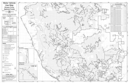 Motor Vehicle Use Map (MVUM) of Hayfork & Yolla Bolla North in Shasta-Trinity National Forest (NF). Published by the U.S. Forest Service (USFS).