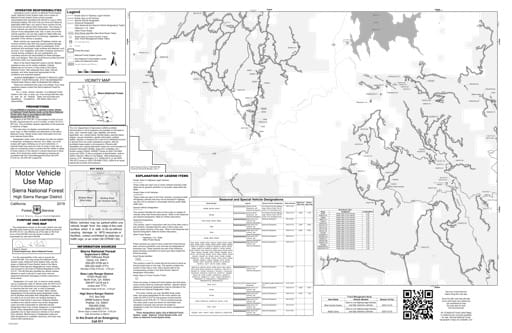 map of Sierra MVUM - High Sierra (Dinkey West) 2019