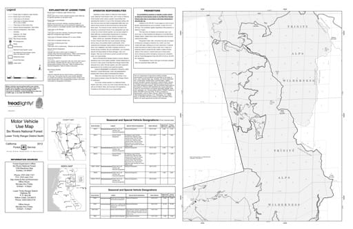 map of Six Rivers MVUM - Lower Trinity North Front 2012