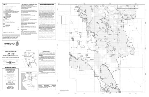 map of Six Rivers MVUM - Lower Trinity South Front 2012
