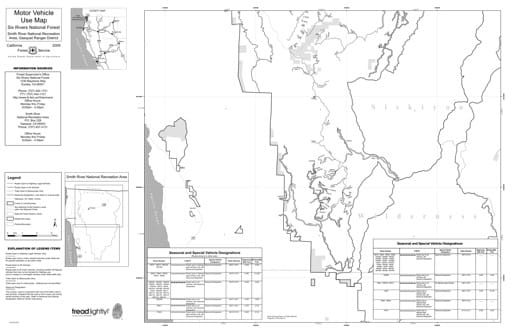 map of Six Rivers MVUM - Smith Rivers NRA South 2009