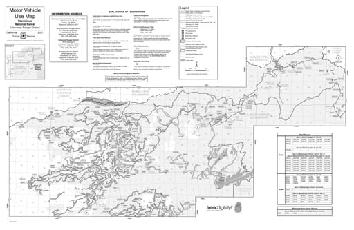 Motor Vehicle Use Map (MVUM) of the southwest area of the Calaveras Ranger District in Stanislaus National Forest (NF) in California. Published by the U.S. Forest Service (USFS).