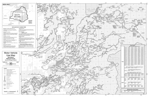 Motor Vehicle Use Map (MVUM) of the southern part of Summit Ranger District in Stanislaus National Forest (NF) in California. Published by the U.S. Forest Service (USFS).