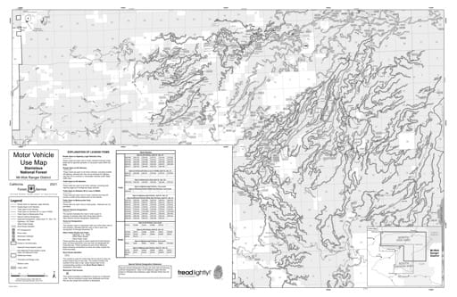 Motor Vehicle Use Map (MVUM) of the northern part of Mi-Wok Ranger District in Stanislaus National Forest (NF) in California. Published by the U.S. Forest Service (USFS).
