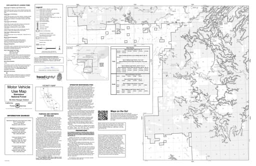 Motor Vehicle Use Map (MVUM) of the southern part of Mi-Wok Ranger District in Stanislaus National Forest (NF) in California. Published by the U.S. Forest Service (USFS).