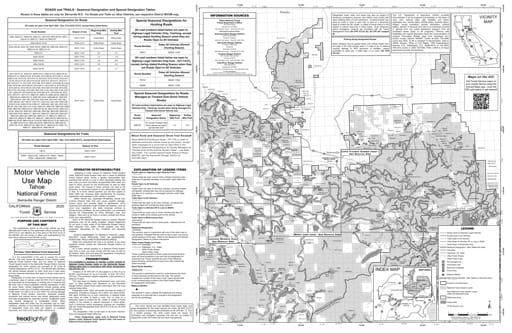 map of Tahoe MVUM - Serriaville Front 2013
