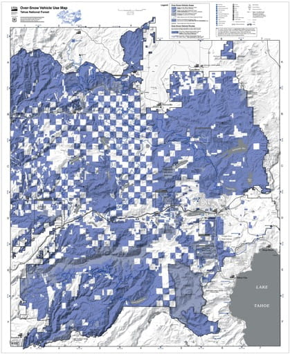 map of Tahoe MVUM - Over-Snow Vehicle Use Map 2016