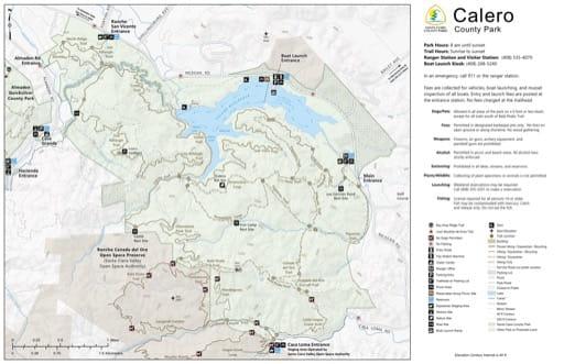 Map of Calero County Park (CP) in Santa Clara County, California. Published by Santa Clara County Parks.
