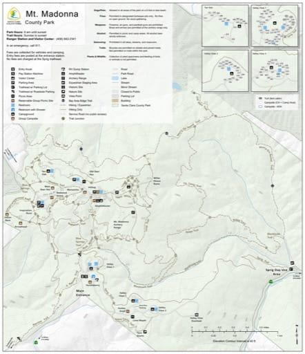 Map of Mt. Madonna County Park (CP) in Santa Clara County, California. Published by Santa Clara County Parks.