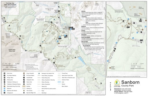 Map of Sanborn County Park (CP) in Santa Clara County in California. Published by Santa Clara County Parks.