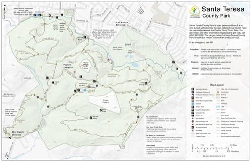 Map of Santa Teresa County Park (CP) in Santa Clara County, California. Published by Santa Clara County Parks.