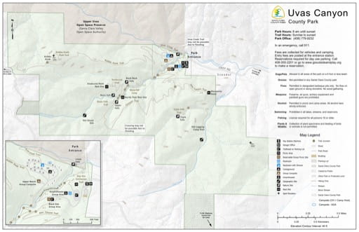 Map of Uvas Canyon County Park (CP) in Santa Clara County, California. Published by Santa Clara County Parks.