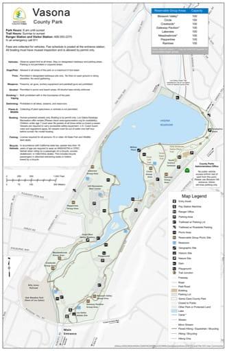Map of Vasona County Park (CP) in Santa Clara County, California. Published by Santa Clara County Parks.