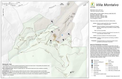 Map of Villa Montalvo in Santa Clara County, California. Published by Santa Clara County Parks.