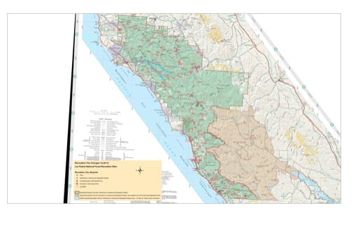 Recreation Map of the Ventana Wilderness in Los Padres National Forest (NF) in California. Published by the U.S. National Forest Service (USFS).