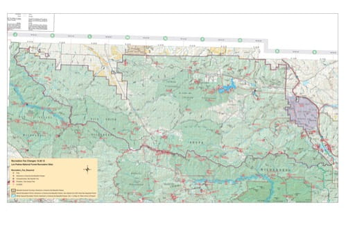 Recreation Map of Chumas Wilderness in Los Padres National Forest (NF) in California. Published by the U.S. National Forest Service (USFS).