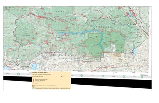 Recreation Map of Sespe Wilderness and Sespe Condor Sanctuary in Los Padres National Forest (NF) in California. Published by the U.S. National Forest Service (USFS).