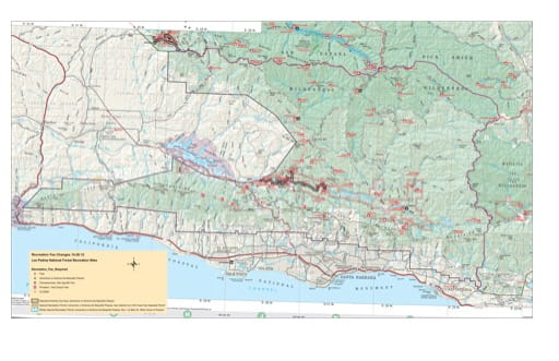 Recreation Map of San Rafael Wilderness and Santa Ynez Mountains in Los Padres National Forest (NF) in California. Published by the U.S. National Forest Service (USFS).