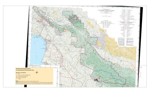 Recreation Map of Santa Lucia Ranger District (RD) in Los Padres National Forest (NF) in California. Published by the U.S. National Forest Service (USFS).