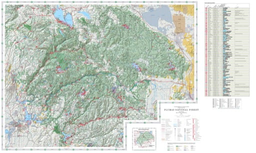 Recreation Map of Plumas National Forest (NF) in California. Published by the U.S. National Forest Service (USFS).