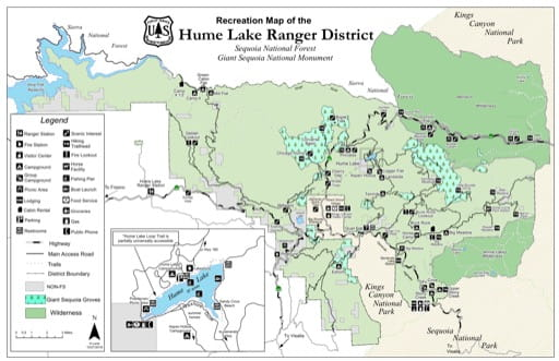 map of Sequoia NF - Hume Recreation Map