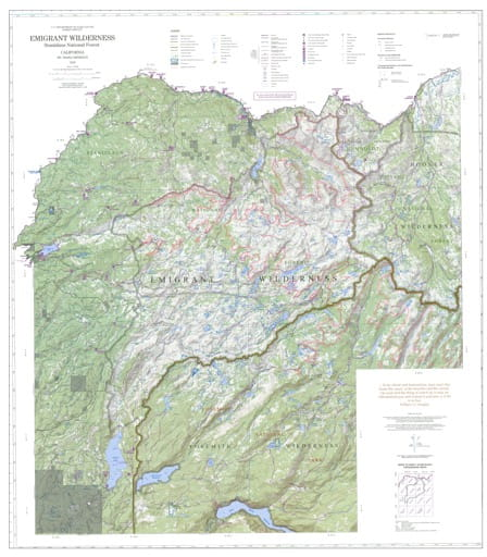 Recreation Map of Emigrant Wilderness in Stanislaus National Forest (NF) in California. Published by the U.S. Forest Service (USFS).