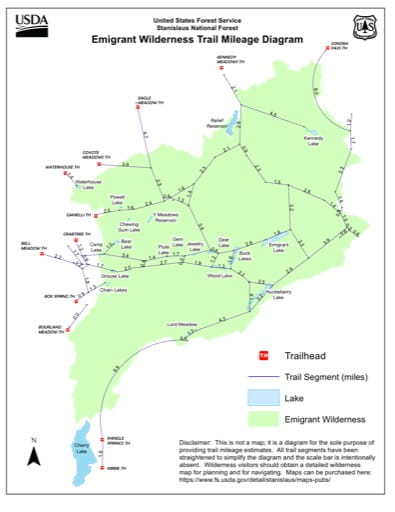 Trail Mileage Diagram of Emigrant Wilderness in Stanislaus National Forest (NF) in California. Published by the U.S. Forest Service (USFS).