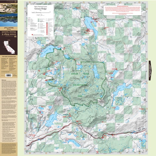 Recreation Map of the Grouse Ridge area in Tahoe National Forest (NF) in California. Published by the U.S. National Forest Service (USFS).
