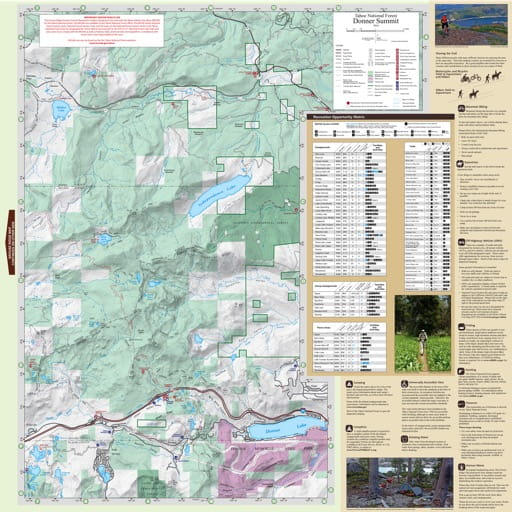 Recreation Map of the Donner Summit area in Tahoe National Forest (NF) in California. Published by the U.S. National Forest Service (USFS).