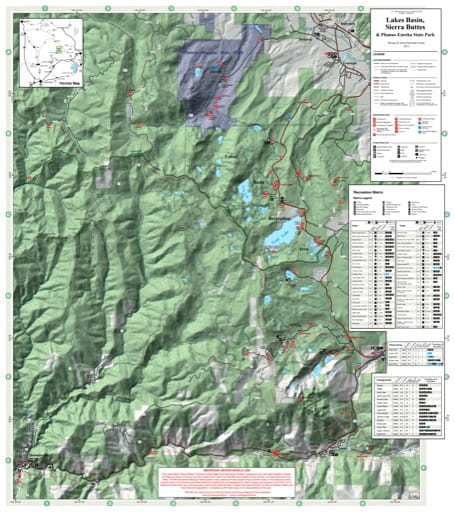 Recreation Map of the Lakes Basin, Sierra Buttes areas in Tahoe National Forest (NF) in California. Published by the U.S. National Forest Service (USFS).