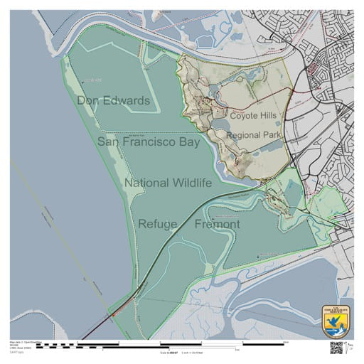 Map of the Fremont section of Don Edwards San Francisco Bay National Wildlife Refuge (NWR) in California. Published by the U.S. Fish & Wildlife Service (USFWS).