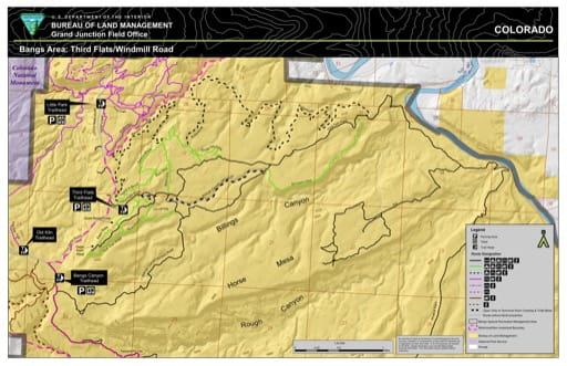 map of Bangs Canyon - Third Flats/Windmill Road