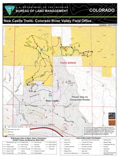 Map of New Castle Extensive Recreation Management Area (ERMA) in the Colorado River Valley Field Office area in Colorado. Published by the Bureau of Land Management (BLM).