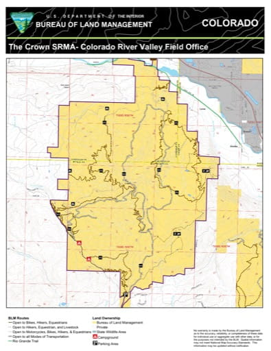 Map of The Crown Special Recreation Management Area (SRMA) near Carbondale in the Colorado River Valley Field Office area. Published by the Bureau of Land Management (BLM).