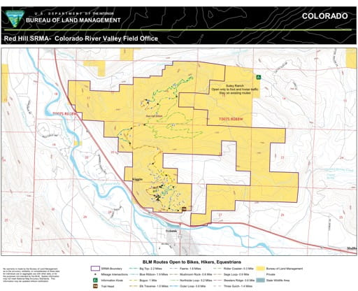 Map of Red Hill Special Recreation Management Area (SRMA) north of Carbondale in the Colorado River Valley Field Office area. Published by the Bureau of Land Management (BLM).