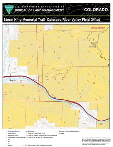 Map of Storm King Memorial Trail near Chacra in the Colorado River Valley Field Office area. Published by the Bureau of Land Management (BLM).