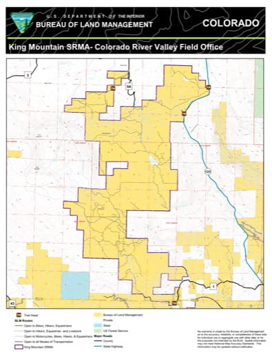 Map of King Mountain Special Recreation Management Area (SRMA) in the Colorado River Valley Field Office area. Published by the Bureau of Land Management (BLM).