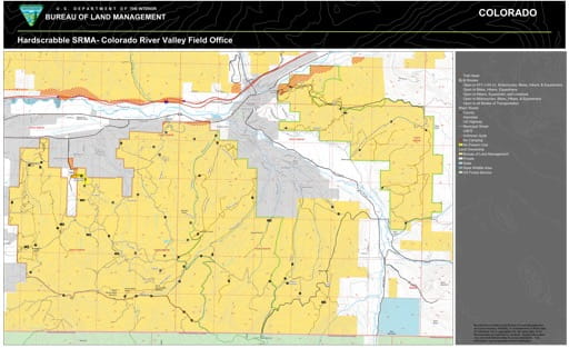Map of Hardscrabble Special Recreation Management Area (SRMA) located between Gypsum and Eagle in the Colorado River Valley Field Office area. Published by the Bureau of Land Management (BLM).