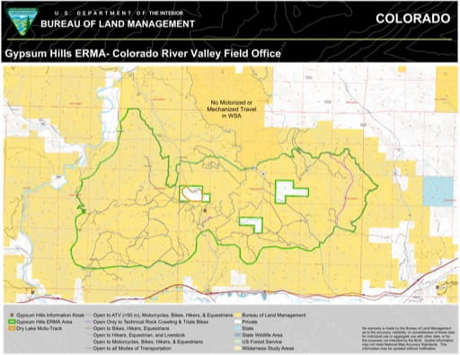 Map of Gypsum Hills Extensive Recreation Management Area (ERMA) in the Colorado River Valley Field Office area. Published by the Bureau of Land Management (BLM).
