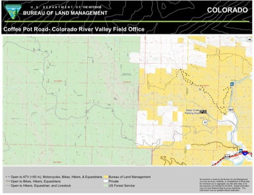 Map of Deep Creek Recreation Area (RA) and Coffee Pot Road in the Colorado River Valley Field Office area. Published by the Bureau of Land Management (BLM).