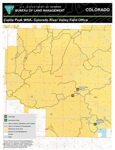 Map of Castle Peak Wilderness Study Area (WSA) in the Colorado River Valley Field Office area. Published by the Bureau of Land Management (BLM).