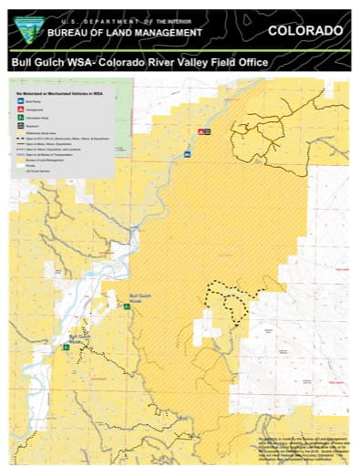 Map of Bull Gulch Wilderness Study Area in the Colorado River Valley Field Office area. Published by the Bureau of Land Management (BLM).