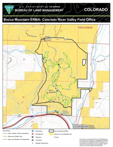 Map of Bocco Mountain Extensive Recreation Management Area (ERMA) in the Colorado River Valley Field Office area. Published by the Bureau of Land Management (BLM).