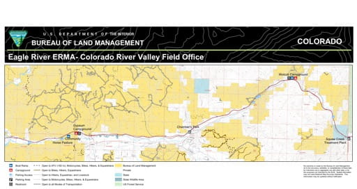 Map of Eagle River Extensive Recreation Management Area (ERMA) near Gypsum in the Colorado River Valley Field Office area. Published by the Bureau of Land Management (BLM).
